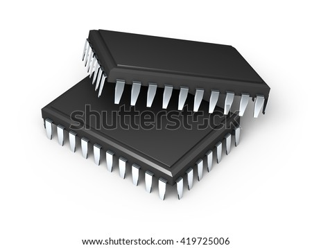 Two microchips isolated on white background. High resolution 3d render.  - stock photo