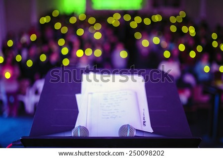two microphones on stage - stock photo
