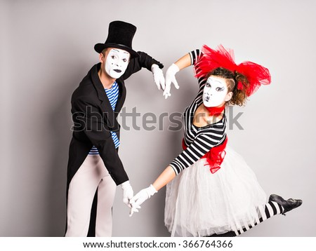 Two mime, The concept of Valentine's Day, April Fool's Day - stock photo
