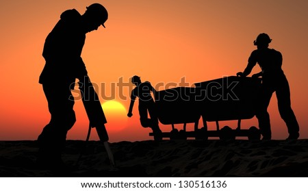 Two miners with a cart. - stock photo