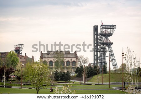 Two mining shaft in the city center of industrial Katowice, Poland - stock photo