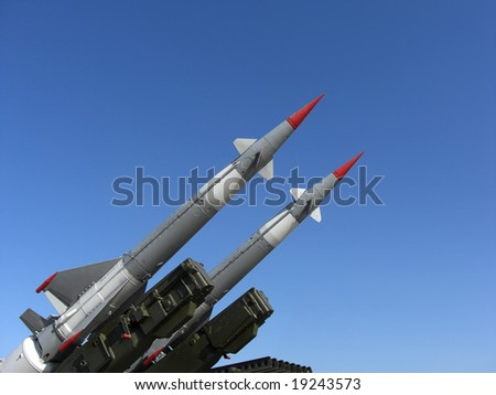 Two missiles are ready to launch - stock photo