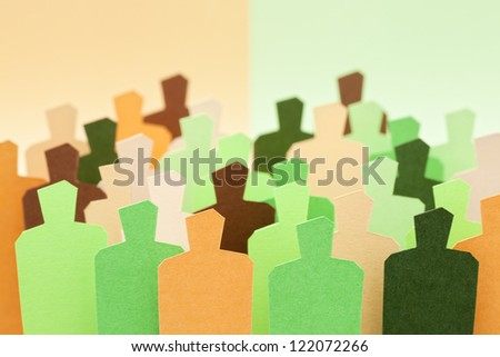 Two mixed groups. Concept of cooperation / teamwork / crossbreeding - stock photo