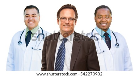 Two Mixed Race Doctors Behind Businessman  Isolated on a White Background.