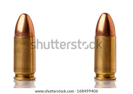 two 9mm bullets for a gun isolated on a white background