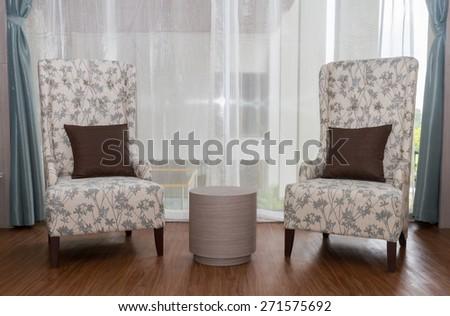 Two modeern chairs in livingroom. - stock photo