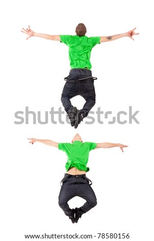 Two modern dancers making a difficult jump on white - stock photo