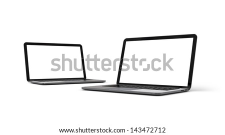 Two modern notebook computers isolated on white background - stock photo
