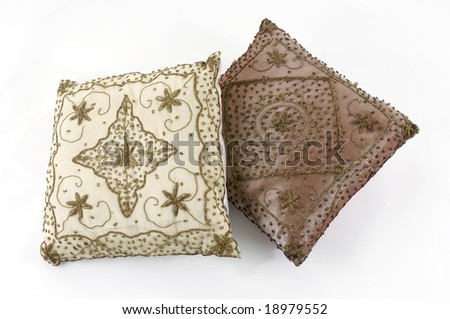Two modern pillow on white background