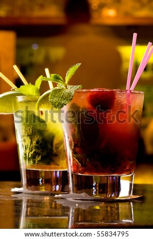 Two mojito on the table - stock photo