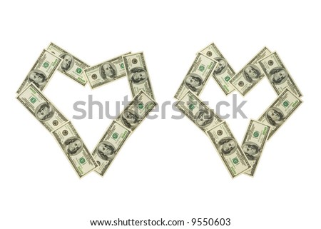 Two money hearts, isolated on white background