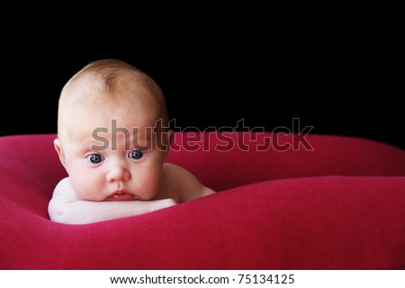 two month old adorable baby - stock photo