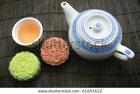Two mooncakes with a tea pot and tea cup