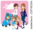 Two mother friends pushing stroller walking with little baby son and child daughters - stock photo