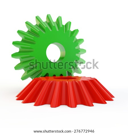 two multi-colored gears are linked together - stock photo