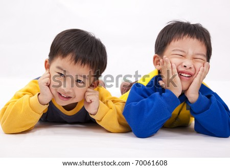 Two naughty boys,brothers - stock photo