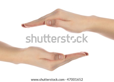 Two neat human hands building a protecting hull. All isolated on white background.