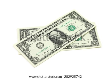 Two new bills into one US dollar on a white background