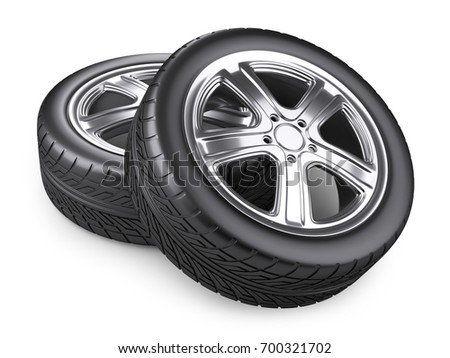 Two new car wheels. 3d image. Isolated white background.