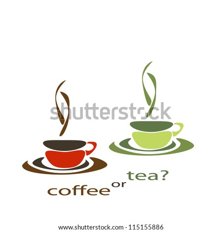 two nice simple cups for tea and coffee - stock photo