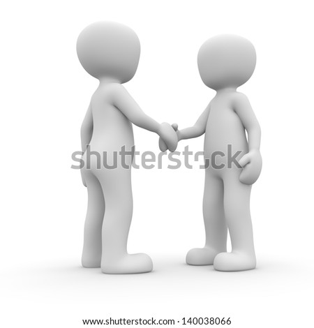 Two normal people shake their hands goodbye.