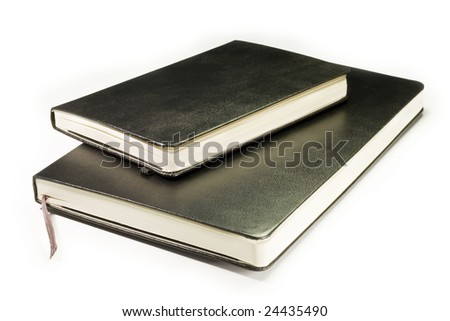 two notebooks isolated on a white background - stock photo