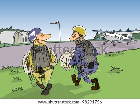 Two novices chutes talking after hopping - stock photo