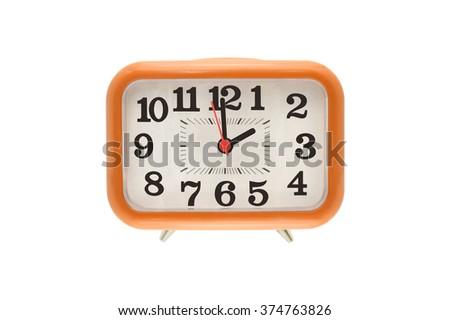 Two o'clock Orange Clock isolated on white background - stock photo