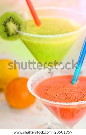 Two of color fruit drinks