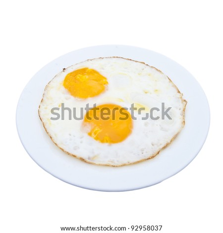 Two of fire eggs  isolated on white background - stock photo