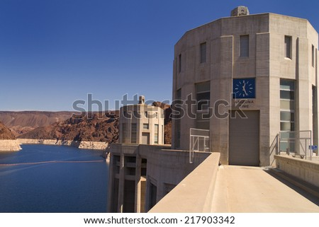 Two of the Hoover Dam intake towers on the Arizona side of the structure.