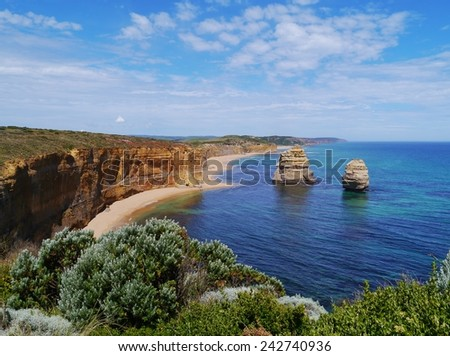 Two of the twelve apostles at the Great Ocean road in Victoria in Australia - stock photo