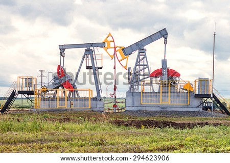 two oil pumps - stock photo
