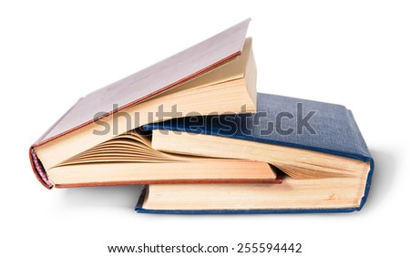Two old books nested isolated on white background - stock photo
