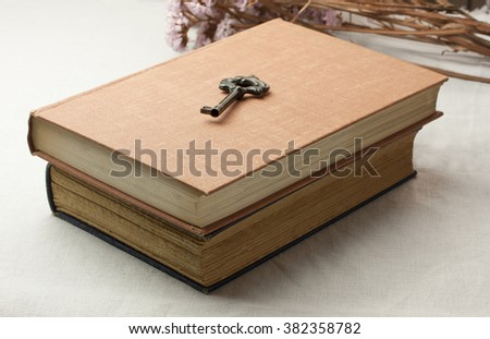 Two old books with a vintage looking key on top, on light grey fabric, with some dried flowers in the background - stock photo