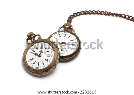Two old broken pocket watch isolated on white