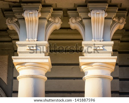 two old columns - close-up - stock photo