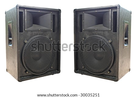 two old concerto audio speakers on white background - stock photo