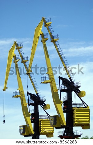 Two old cranes of the port of Buenos Aires
