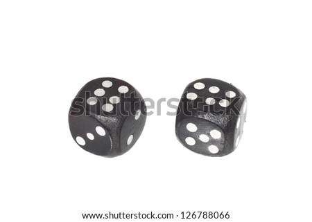 Two old dices ( double six-six ) isolated on white background