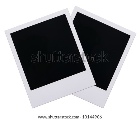Two old instant photo film blanks isolated on white background - stock photo
