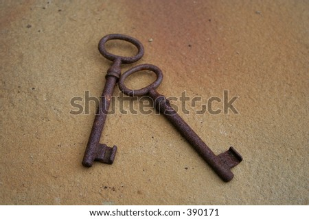 two old keys - stock photo