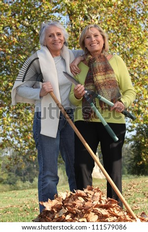 Two old ladies in the garden - stock photo