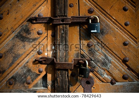 Two old locks on the doors/Double protection