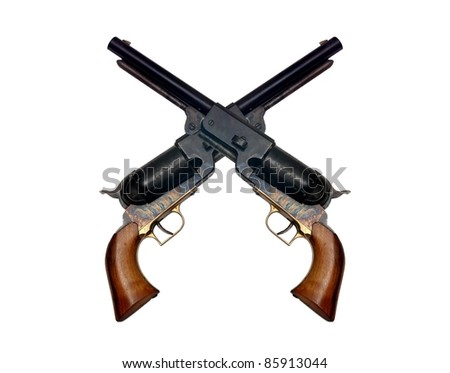 two old metal colt revolver on white background - stock photo
