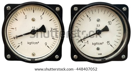 Two old meters isolated on white. Clipping path included.