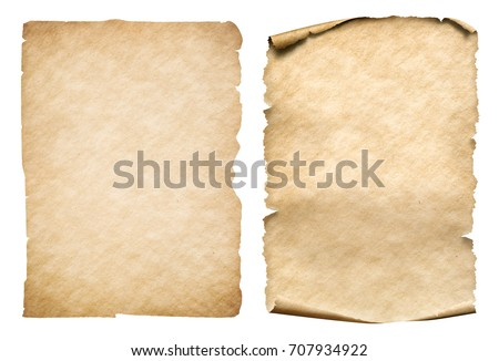 Two old paper sheets isolated
