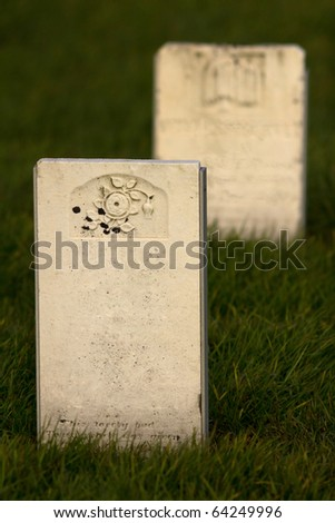 Two old tombstones - stock photo