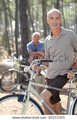 Two older men out for a bike ride