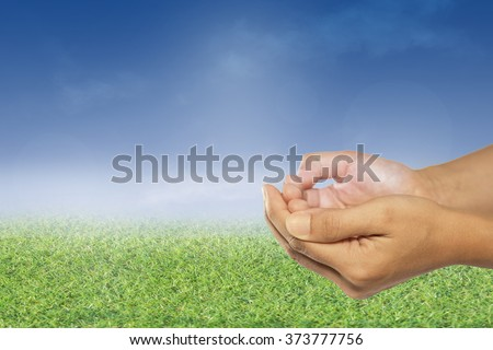 Two open empty hands & palms up, Pray for support concept. Business, Environment Day,